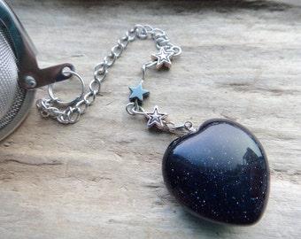 Star Stuff Blue Goldstone Tea Infuser, Glass Blue Goldstone Heart and Stars Metal Tea Ball Tea Strainer