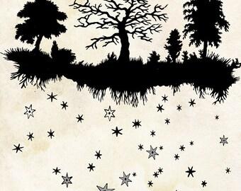Fairy Tale Forest Art Print - Elegant Paper Cut - Night Sky - Trees Art - Stars Constellations Art Print - Vintage Papercut Illustration