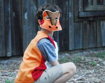 Northern Red Legged Frog Costume - Mask, Vest, Mask & Vest Combo
