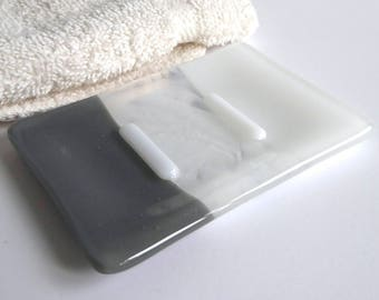 Fused Glass Soap Dish in Gray and White by BPRDesigns