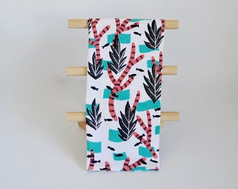 Tea Towel, Multi-Use Towel, Kitchen Bath Gym, Kelp + Coral Print Cotton Screen Printed Towel, Blacktop