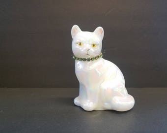 Fenton Opalescent Cat Figurine