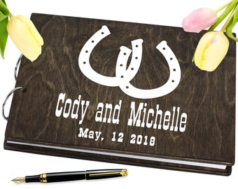 Western Guestbook, country wedding, unique guestbook, horseshoes guestbook, engraved guest book, rustic wedding guest book, engraved