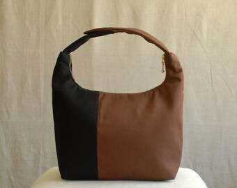 Insulated Lunch Bag, Colorblock Small Purse, Women Lunch Bag, Lunch Bag for Work, Lunch Tote, Baby Food Carrier, Black Brown Colorblock