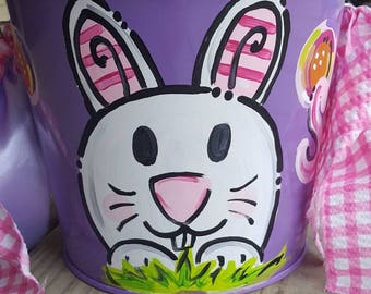 Large Round Pail Personalized Hand Painted Easter Bucket Metal Pail Any theme|Monogram|You Choose Color