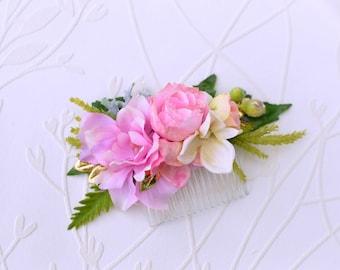 Pink gold hair comb, Wedding hair comb, Bridal hair comb, Floral hair piece, Flower headpiece, Pink flower hair clip, Wedding flowers, Pearl