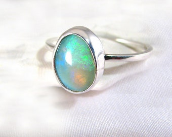 Handmade Green Gray Solid Australian Black Opal Gemstone Ring Sterling OOAK, October birthstone size 8.25
