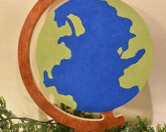 Globe Handpainted Wood Slice Wall Decor