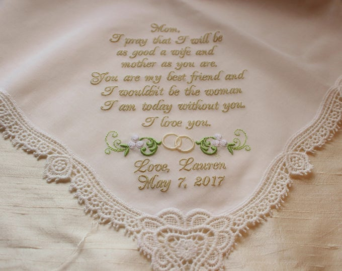 Mother of the Bride Wedding Handlkerchief, Ivory or White Custom Embroidered Hankie, Mother Gifts