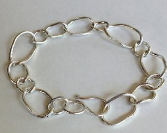 Large Link Brushed Sterling Bracelet