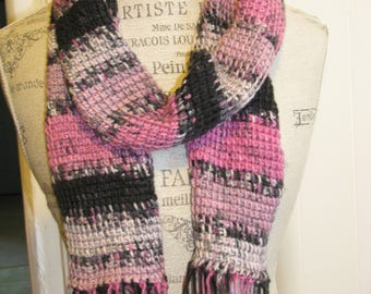 Black and Pink Tunisian Scarf