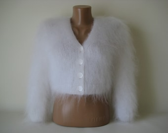 Made to Order ! New Hand Knitted Mohair Sweater Bolero Shrug size S,M, L White