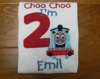 Choo Choo I'm 1, Choo Choo I'm 2, Choo Choo I'm 3 Birthday Shirt For Boys, With Applique Train and Number Monogrammed Name Sizes 12mos-4T