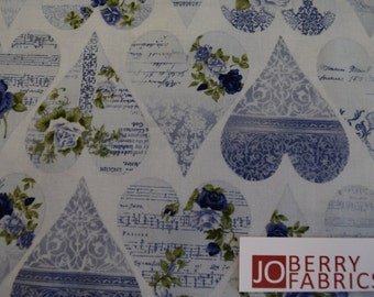 """Roses and Hearts """"Romance"""" Collection by Stof Fabrics of Denmark, Quilt or Craft Fabric, Fabric by the Yard"""