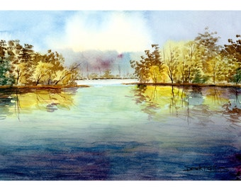 watercolor Painting landscape painting PRINT Lake and tree fall trees with river  water GICLEE reproduction 8 x 10