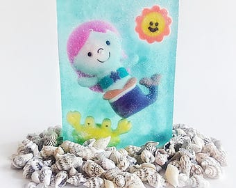Mermaid soap, soap, glycerin soap, handmade soap, mermaid soap, party favors, birthday gift, gift, spa soap, soap for kids, stocking stuffer