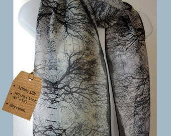 Silk Chiffon Scarf, Tree branches contemporary motif, charming gift