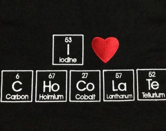 Periodic table chocolate etsy hooded sweatshirt embroidered in periodic table letters i heart chocolate made to order urtaz Choice Image
