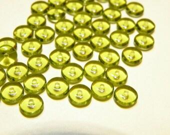 DESTASH -20% OFF --  50 Olivine Green Glass Spacer Disks - 6 mm -- LOT 3C