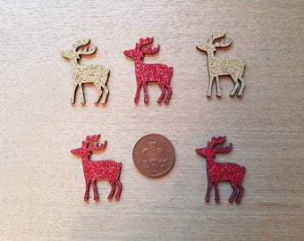 set of 5 wooden glitter reindeers