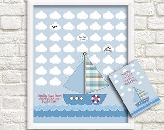 Sailboat Baby Shower Alternative Guestbook, Baby Shower Guest Signature Print, Baby Shower Sign-in Print, Baby Shower Gift, 42 signatures