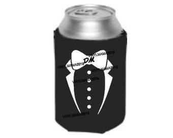 Groomsman Tux Can Cooler - Wedding Favors - Groomsman Gift - Bachelor Party - Wedding Announcement - Wedding Party Gifts