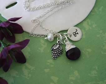 Initial Grape Charm Necklace, Sterling Silver, Gemstone necklace, Initial jewelry, Purple Stone