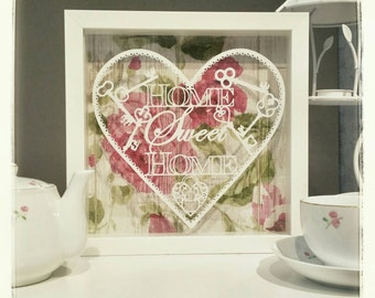Commercial use, Make your own 'Home Sweet Home' papercut . Designed by Curious Bird Keepsakes