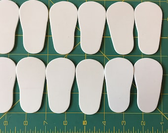 """White 2mm foam Shoe Sole to fit 18"""" doll shoes"""