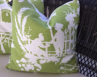 """Thibaut Pillow Covers in Green and White """"South Seas"""" Linen"""