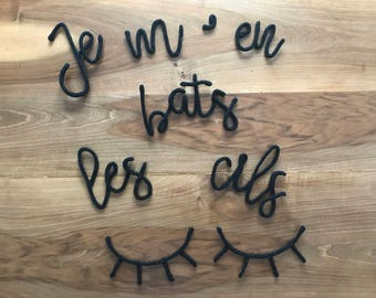 """Wool knitting quote """"I don't give lashes"""", wall decor, stickers, cozy, office, decoration workshop, sleepy eyes"""