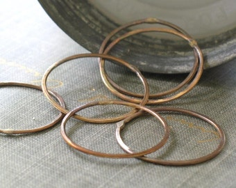 1 inch oxidized brass circles- forged connector links, brass connector, brass hoop, brass ring, forged circle, forged hoop, antiqued brass