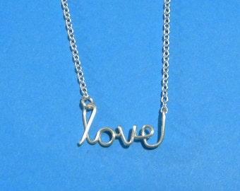 Silver wire LOVE necklace