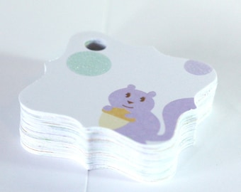 38 Baby Shower Gift Tags: Fancy Square Pastel Baby Animals with Glitter Hang Tags, Handmade by me, Cardstock Tags 1 3/4 inch, Little Animals