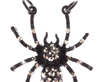 Spider Charm Spider Pendant Connector Link Charm Connector Focal Pendant Black Spider Charm Rhinestone Spider Focal Charm 1 1/8""