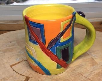 Geometric Mug, Carved Mug, handmade Mug, Pottery Mug, Carved Mug, Painted Mug