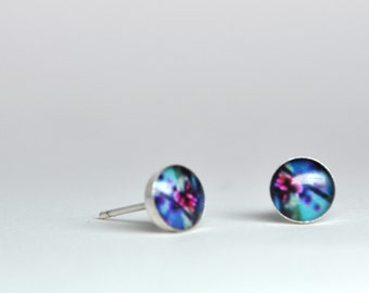 Budding. Petite Photo Studs-Sterling Silver Earrings