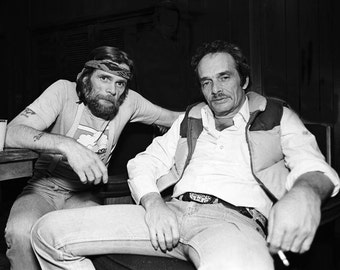 Country Music Legends Merle Haggard and Johnny Paycheck - 5X7 or 8X10 Publicity Photo (ZY-102)