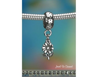 Tiny Sterling Silver Daisy Charm or European Style Charm Bracelet .925