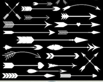 White Arrows Clipart Chalkboard Arrows Clip Art Tribal Digital Arrows Aztec Native American Doodle Scrapbooking Wedding Invitations Logo