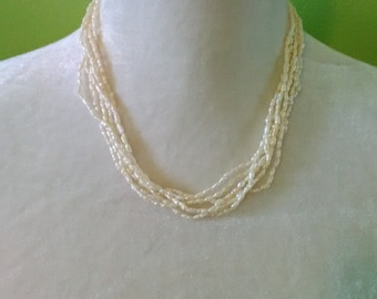 Vintage Multi-Strand Rice Pearl Necklace