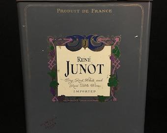 Vintage Rene Junot Wine Tin Made in England ( Large Rectangular Tin)   (TTT17)