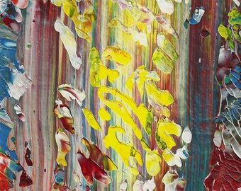 Vision Tree Abstract Acrylic Original Painting in White Mat
