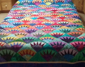 King Queen Size Handmade Quilt in Batiks New York Beauty Quiltsy