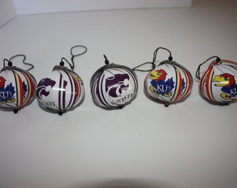 KU/KSU Jayhawks/Wildcats Ornaments : Single/Set of 5