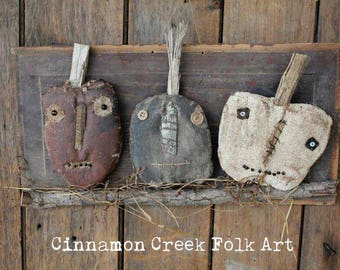 Pumpkin Head Trio Paper Pattern by Cinnamon Creek Folk Art