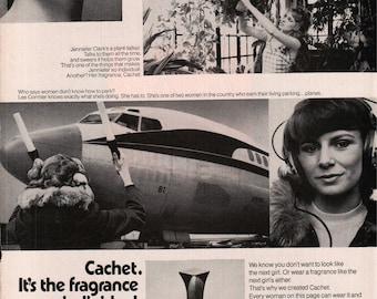 1975 Cachet Fragrance By Prince Matchabelli Airplane Vintage Photo Print Ad