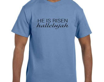 Christian Religous Tshirt He is Risen Hallelujah model xx10290