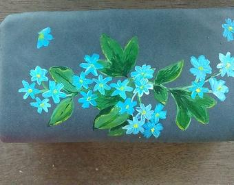 Wallet, blue flowers