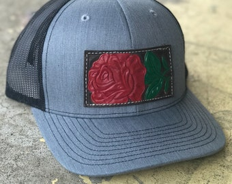 Handtooled Genuine Leather Painted Rose Snapback, Patch Cap